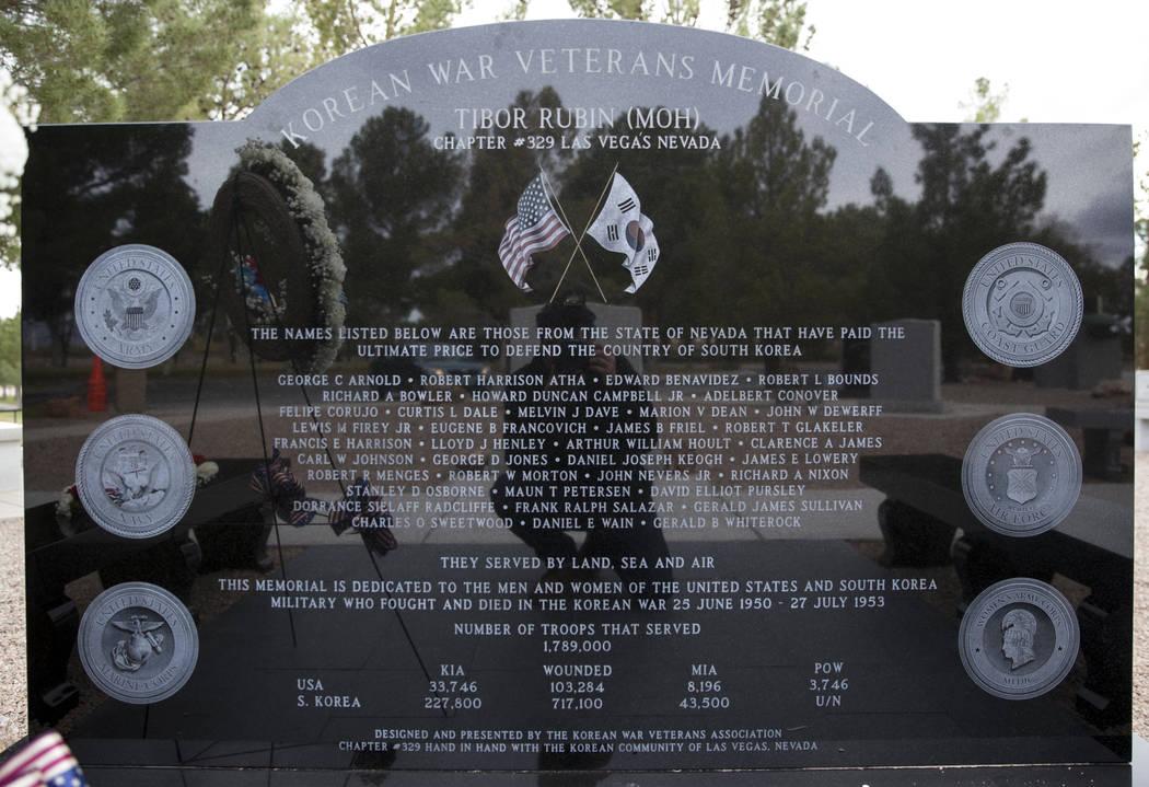 A Korean War memorial monument at the Southern Nevada Veterans Memorial Cemetery in Boulder City, Saturday, March 3, 2018. Erik Verduzco Las Vegas Review-Journal @Erik_Verduzco