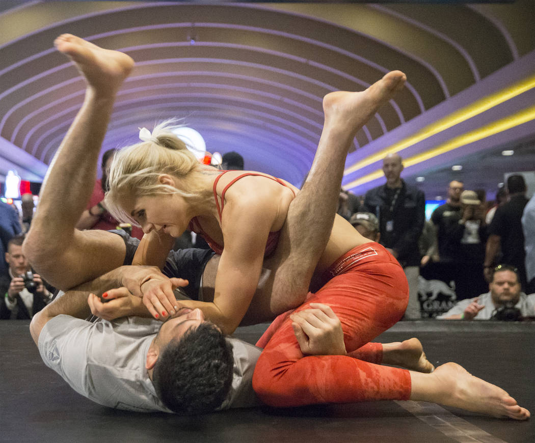 UFC women's featherweight contender Yana Kunitskaya warms up during open workouts leading up to Saturday's UFC 222 on Thursday, March 1, 2018, at the MGM Grand hotel-casino, in Las Vegas. Benjamin ...