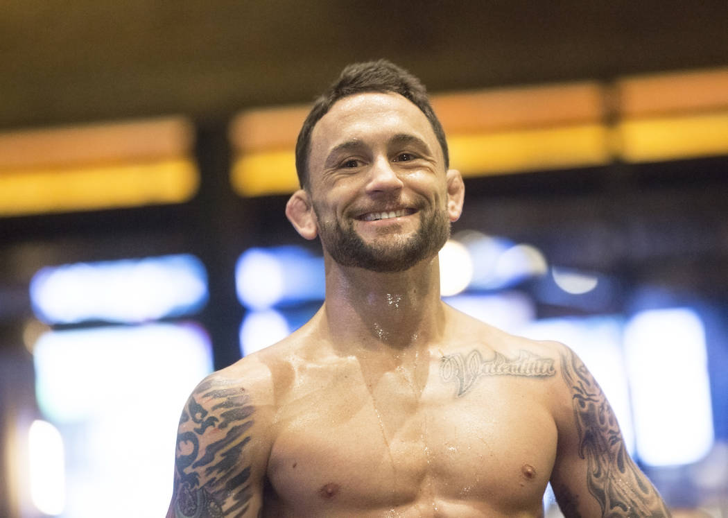 Frankie Edgar, the number two UFC featherweight contender, reacts to cheers during open workouts leading up to Saturday's UFC 222 on Thursday, March 1, 2018, at the MGM Grand hotel-casino, in Las  ...