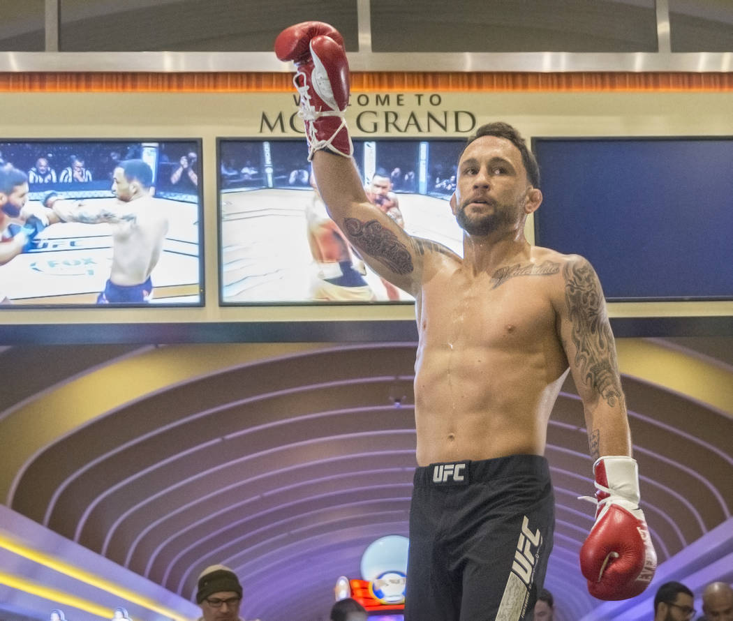 Frankie Edgar, the number two UFC featherweight contender, salutes the crowd at the end of open workouts leading up to Saturday's UFC 222 on Thursday, March 1, 2018, at the MGM Grand hotel-casino, ...