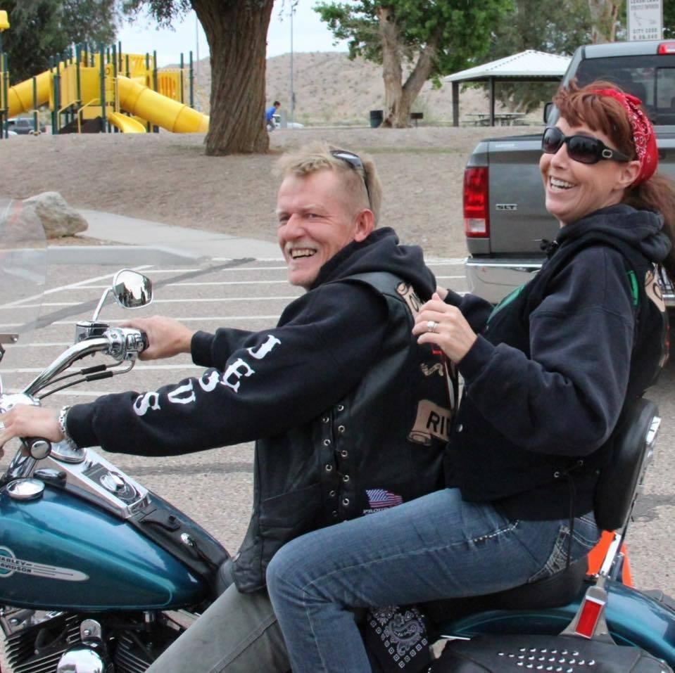 Roy and Denise McClellan ride on a motorcycle together in December 2015. Roy McClellan, a Las Vegas mass shooting survivor, killed himself in Pahrump on Nov. 17, 2017. (Denise McClellan)