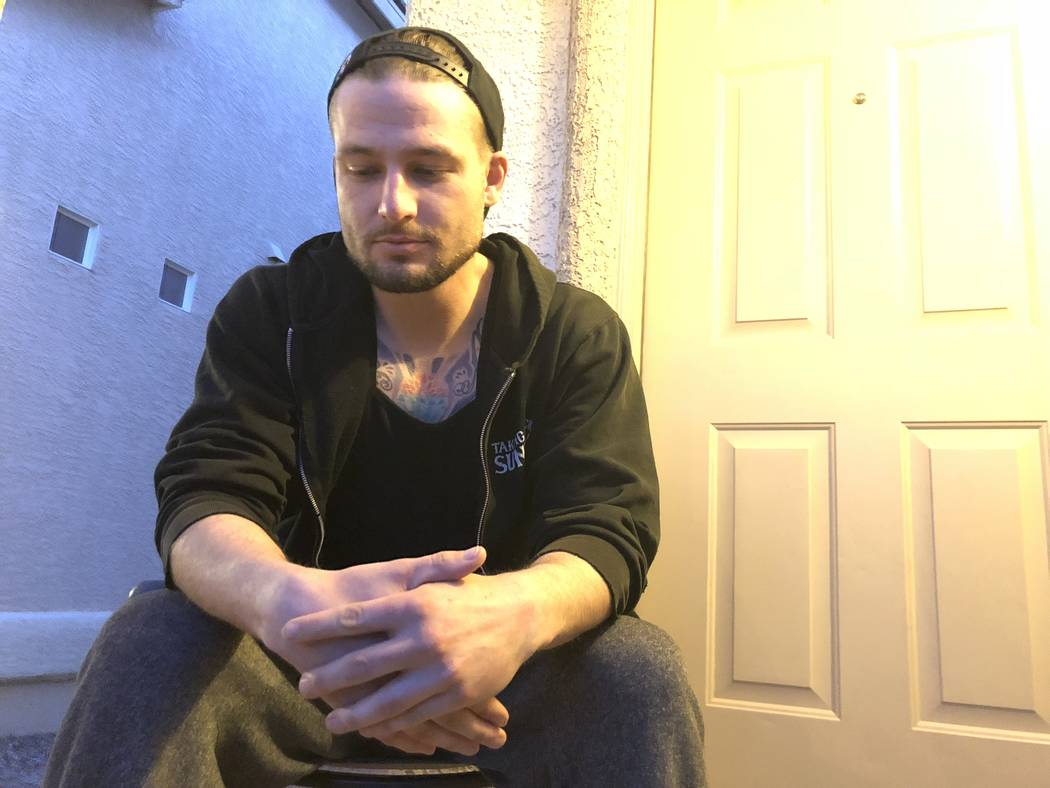 Phillip James Demasseo, 33, is photographed at his friend's home on Wednesday, Feb. 28, 2018. Demasseo was working as a bartender at Route 91 Harvest on Oct. 1. In the months since, he became home ...