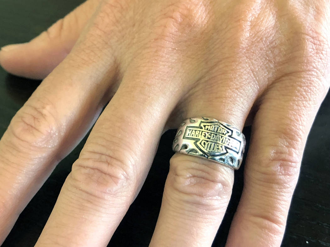 Denise McClellan's wedding ring. Her husband, Roy, a motorcycle enthusiast, killed himself on Nov. 17, 2017, in Pahrump, nearly two months after surviving the Las Vegas mass shooting. (Rio Lacanla ...
