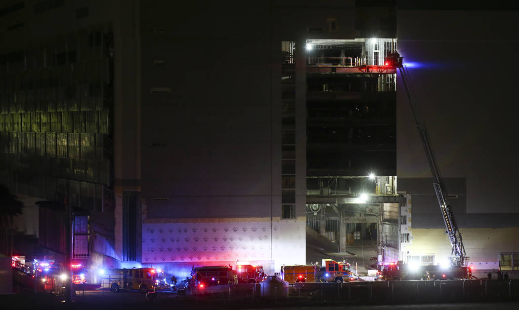 Las Vegas and Clark County firefighters respond to the scene of a fire at The Drew, formerly the Fontainebleau, in Las Vegas on Thursday, March 1, 2018. Chase Stevens Las Vegas Review-Journal @css ...