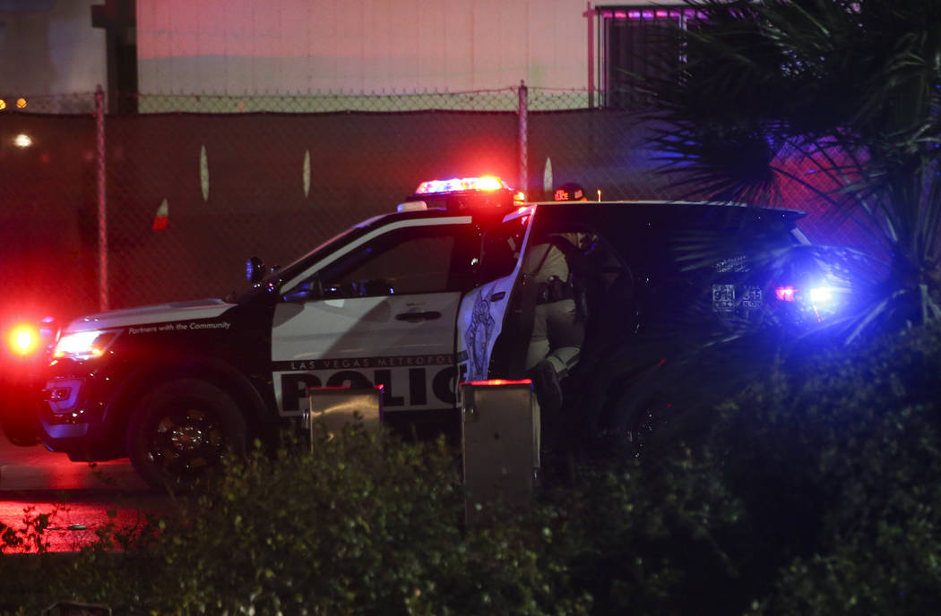 Las Vegas police take a suspect into custody near the scene of a fire at The Drew, formerly the Fontainebleau, in Las Vegas on Thursday, March 1, 2018. Chase Stevens Las Vegas Review-Journal @csst ...