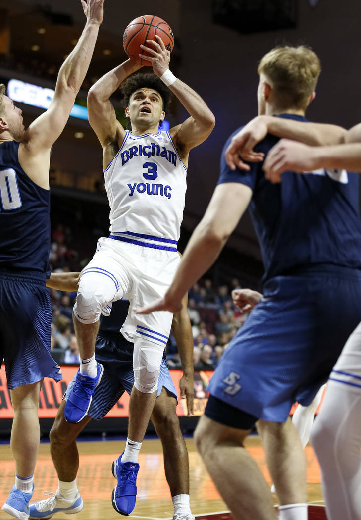 Brigham Young Cougars guard Elijah Bryant (3) shoots against the San Diego Toreros during the West Coast Conference Basketball Tournament quarterfinals at the Orleans Arena in Las Vegas on Saturda ...