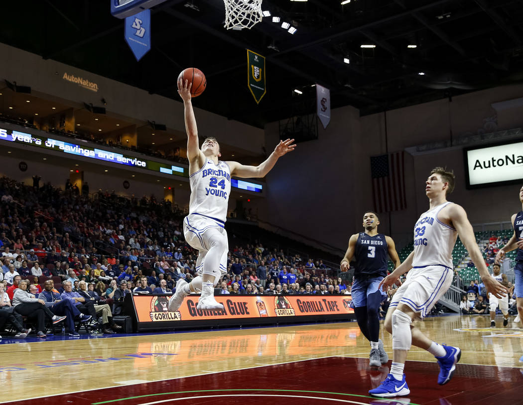 Brigham Young Cougars guard McKay Cannon (24) makes a layup during the West Coast Conference Basketball Tournament quarterfinals at the Orleans Arena  in Las Vegas on Saturday, March 3, 2018. Rich ...