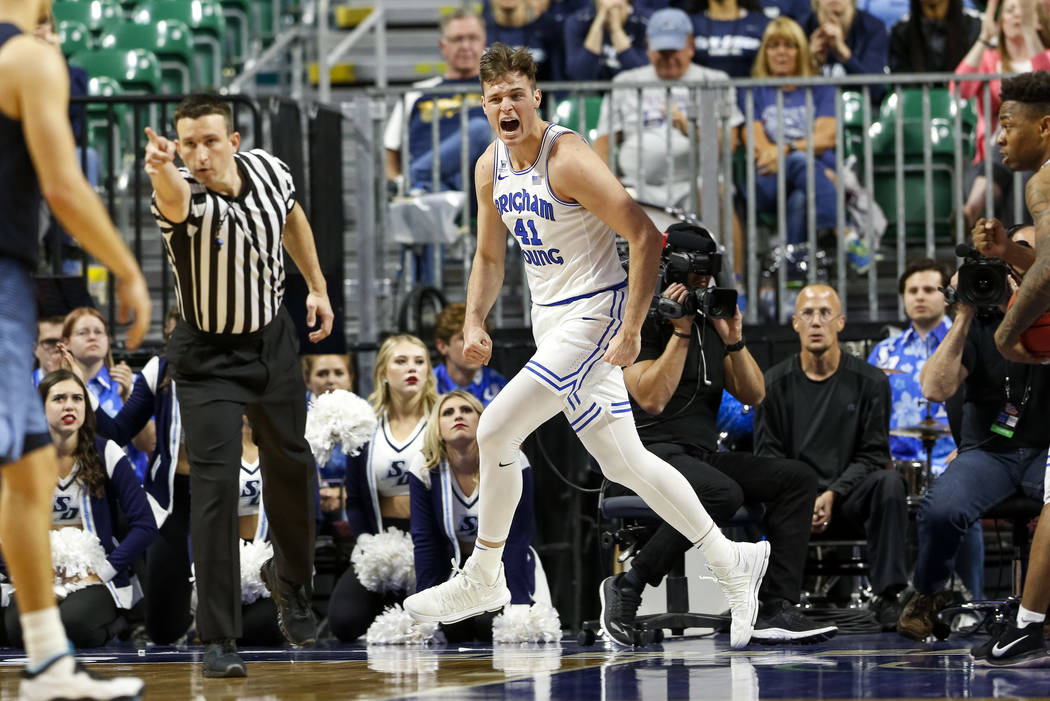 Brigham Young Cougars forward Luke Worthington (41) reacts after scoring against the San Diego Toreros during the West Coast Conference Basketball Tournament quarterfinals at the Orleans Arena  in ...