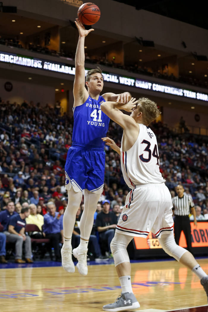 Brigham Young Cougars forward Luke Worthington (41) shoots over St. Mary's Gaels center Jock Landale (34) during the West Coast Conference basketball semifinal's at the Orleans Arena  Las Vegas on ...