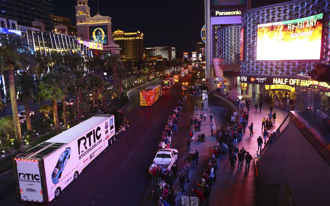 The hauler of Cole Whitt (72) parades down the Las Vegas Strip near Harmon Road ahead of the NASCAR Monster Energy Cup in Las Vegas on Thursday, March 1, 2018. Chase Stevens Las Vegas Review-Journ ...