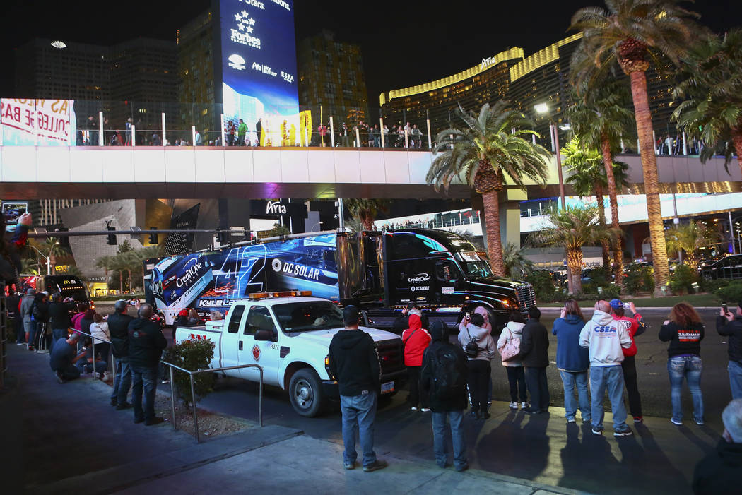 The hauler of Kyle Larson (42) parades down the Las Vegas Strip near Harmon Road ahead of the NASCAR Monster Energy Cup in Las Vegas on Thursday, March 1, 2018. Chase Stevens Las Vegas Review-Jour ...