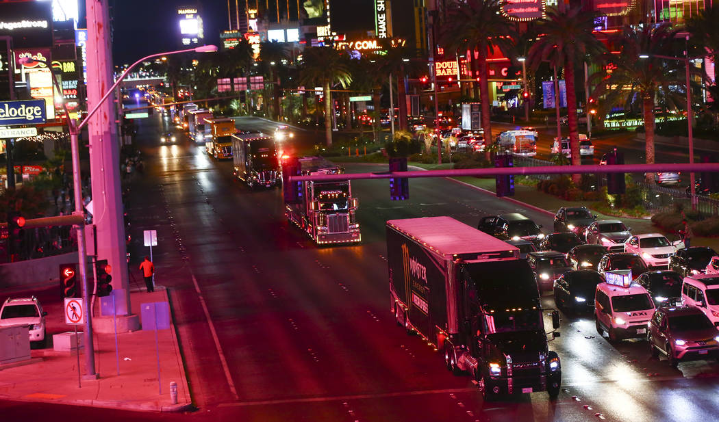 Haulers parade down the Las Vegas Strip near Harmon Road ahead of the NASCAR Monster Energy Cup in Las Vegas on Thursday, March 1, 2018. Chase Stevens Las Vegas Review-Journal @csstevensphoto