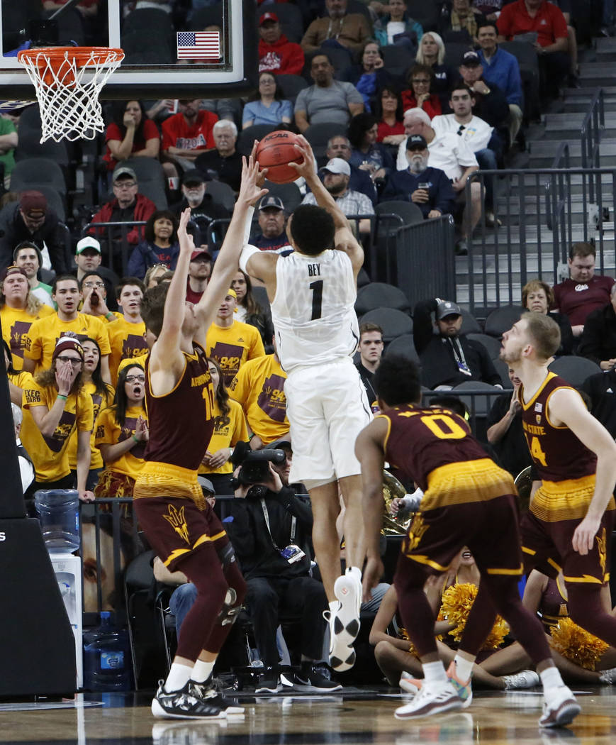 Colorado Buffaloes' Tyler Bey (1) goes for a rebound during an NCAA college basketball game against Arizona State in the first round of the Pac-12 tournament on Wednesday, March 7, 2018, in Las Ve ...