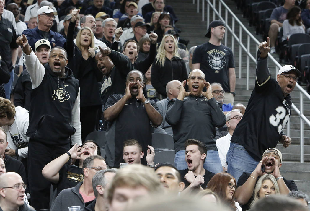 Colorado Buffaloes' fans cheer for their team during an NCAA college basketball game against Arizona State in the first round of the Pac-12 tournament on Wednesday, March 7, 2018, in Las Vegas. Co ...