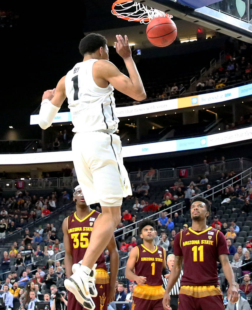 Colorado Buffaloes' Tyler Bey dunks during an NCAA college basketball game against Arizona Statre in the first round of the Pac-12 tournament on Wednesday, March 7, 2018, in Las Vegas. Colorado wo ...