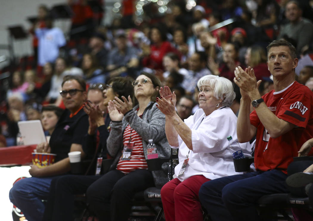 UNLV Lady Rebels fans cheer during the second half of a basketball game against the Utah State Aggies at the Cox Pavilion in Las Vegas on Friday, March 2, 2018. Chase Stevens Las Vegas Review-Jour ...