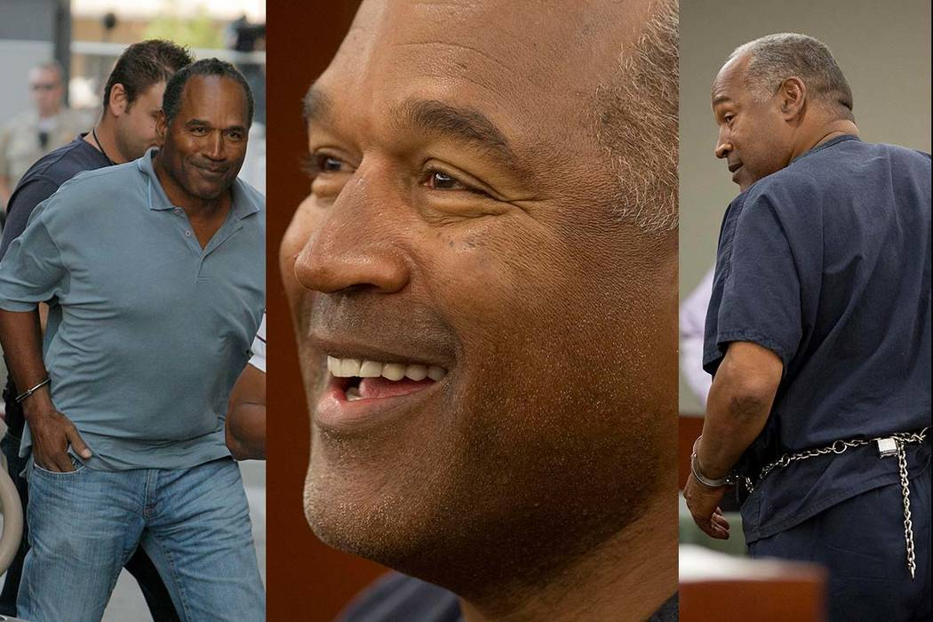 From left, O.J. Simpson is transferred to the Clark County Detention Center in Las Vegas on Sept. 16, 2007, Simpson at an evidentiary hearing in Clark County District Court on May 15, 2013, in Las ...