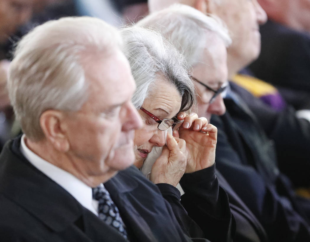 Mourners react during a funeral service at the Billy Graham Library for the Rev. Billy Graham, who died last week at age 99, Friday, March 2, 2018, in Charlotte, N.C. (John Bazemore/AP)