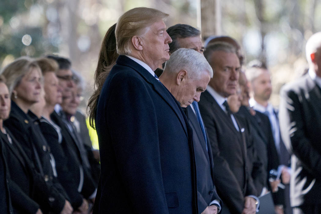 President Donald Trump and Vice President Mike Pence, center right, arrive at the funeral of Reverend Billy Graham in Charlotte, N.C., Friday, March 2, 2018. (Andrew Harnik/AP)