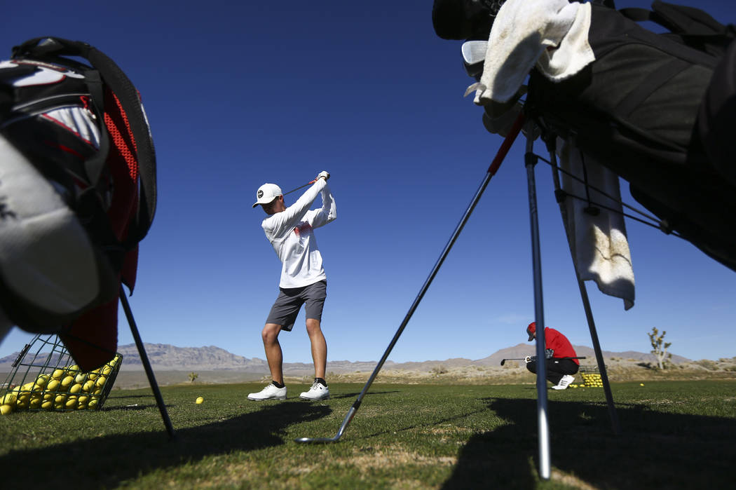 Arbor View's Hazen Newman at the driving range during practice at the Paiute Golf Resort in Las Vegas on Tuesday, March 6, 2018. Chase Stevens Las Vegas Review-Journal @csstevensphoto