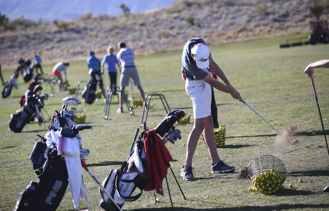 Arbor View's Preston Harris at the driving range during practice at the Paiute Golf Resort in Las Vegas on Tuesday, March 6, 2018. Chase Stevens Las Vegas Review-Journal @csstevensphoto