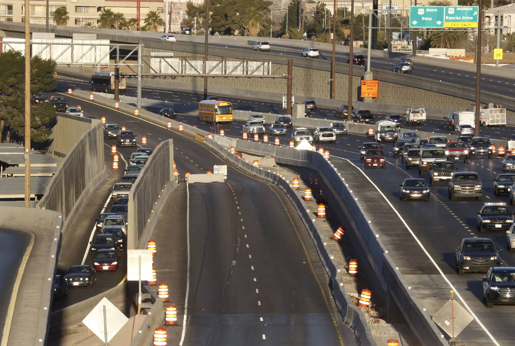 Smooth traffic flow is seen on U.S. Highway 95 South, right, as other motorists, left, use the Martin Luther King Boulevard exit during an initial round of ramp and lane closures around the Spaghe ...