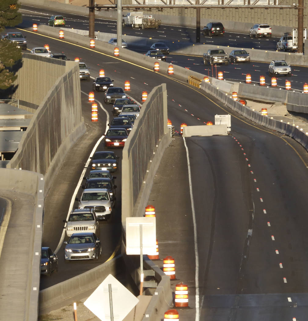 Motorists use the Martin Luther King Boulevard exit during an initial round of ramp and lane closures around the Spaghetti Bowl interchange on Monday, March 5, 2018, in Las Vegas. (Bizuayehu Tesfa ...