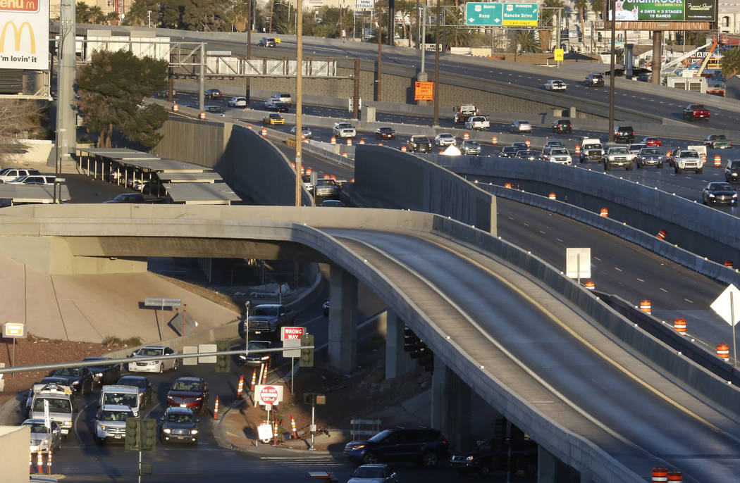 Smooth traffic flow is seen on U.S. Highway 95 South as motorists use the Martin Luther King Boulevard exit during an initial round of ramp and lane closures around the Spaghetti Bowl interchange  ...