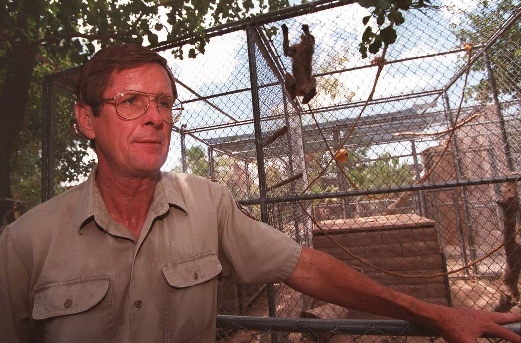 Pat Dingle stands in front of a monkey cage at the Southern Nevada Zoological-Botanical Park in 1996. Las Vegas Review-Journal file