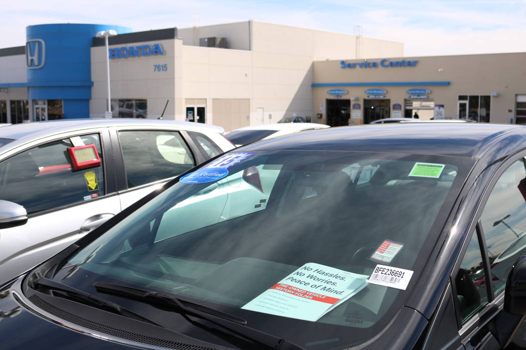 Cars for sale at Honda West dealership, 7615 W. Sahara Ave., in Las Vegas Thursday, March 8, 2018. Cox Enterprises is testing new time-saving tools to cut time out of the purchase process at 24 La ...
