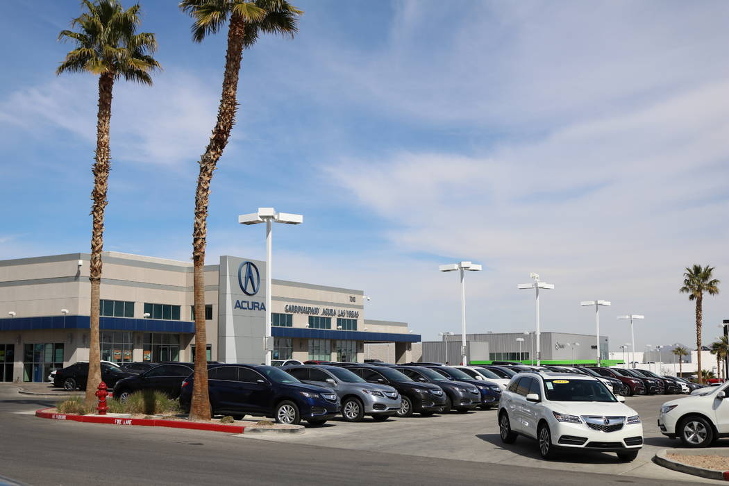 Cars for sale at CardinaleWay Acura, 7000 W. Sahara Ave., in Las Vegas, Thursday, March 8, 2018. Cox Enterprises is testing new time-saving tools  to cut time out of the purchase process at 24 Las ...