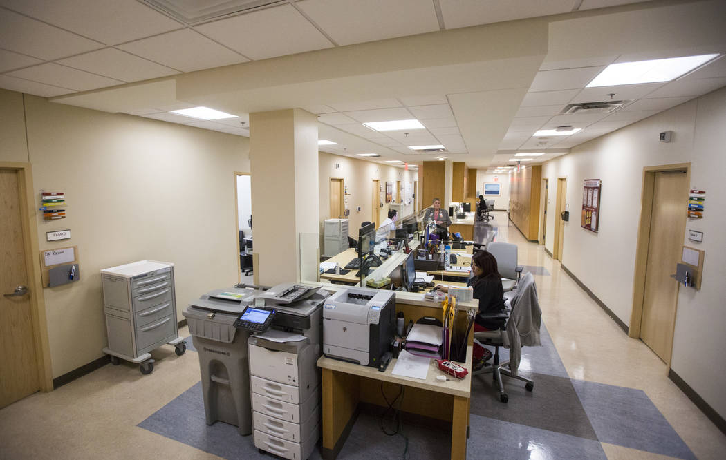 A lean design workspace on the specialties floor at Oakey Healthcare Center in Las Vegas on Wednesday, March 7, 2018. Chase Stevens Las Vegas Review-Journal @csstevensphoto
