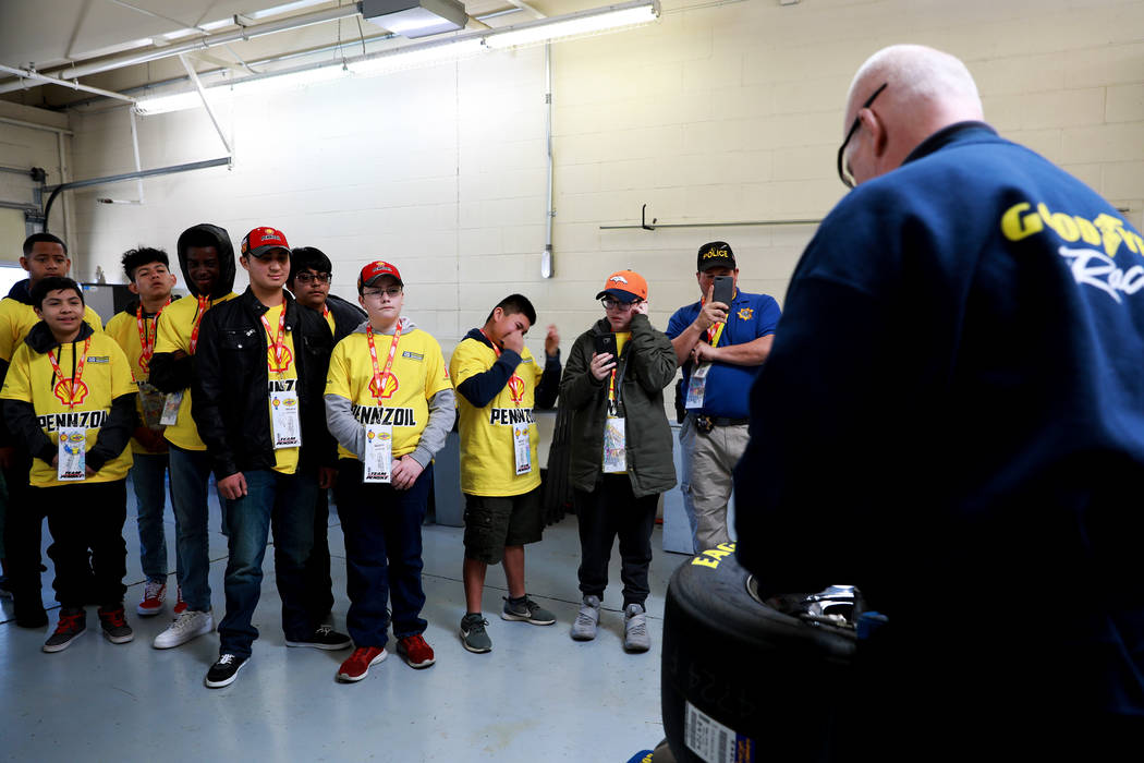 Hyde Park Middle School Academy of Science and Mathematics students tour the Goodyear building   at the Las Vegas Motor Speedway in Las Vegas on Sunday, March 4, 2018. The 50 students won a contes ...