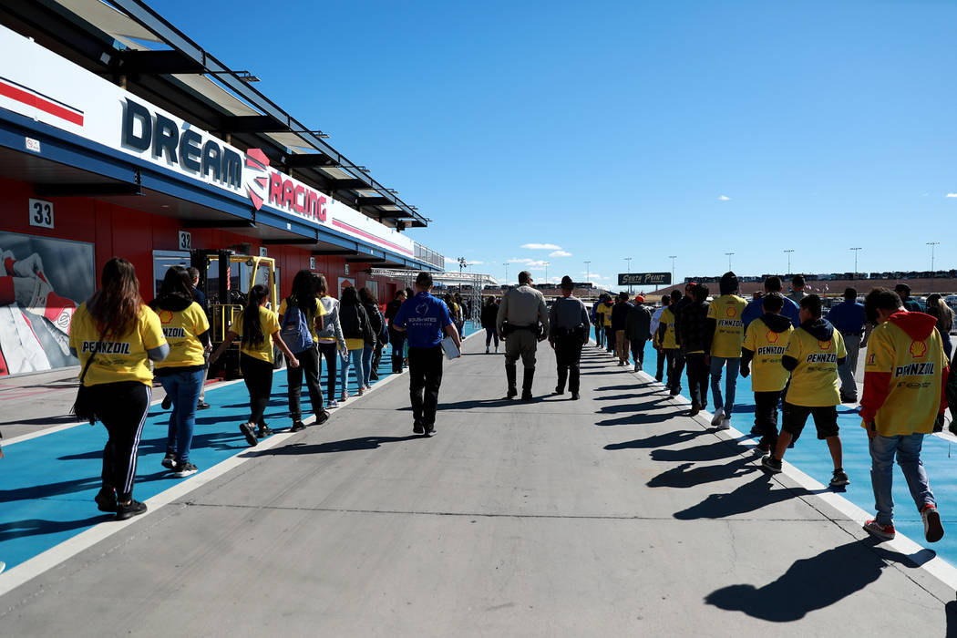 Hyde Park Middle School Academy of Science and Mathematics students take a tour around  the Las Vegas Motor Speedway in Las Vegas on Sunday, March 4, 2018. The 50 students won a contest to design, ...