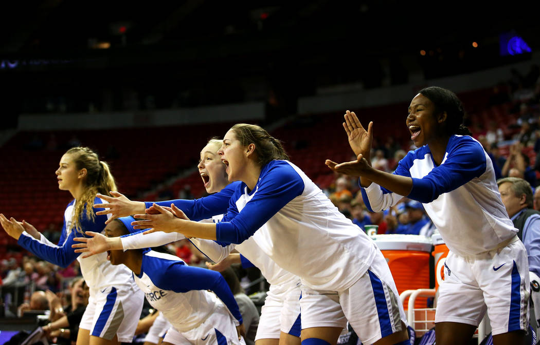 The Air Force Falcons women's basketball team cheers after a play during the Mountain West Conference tournament at the Thomas and Mack Center in Las Vegas on Monday, March 5, 2018. Andrea Cornejo ...