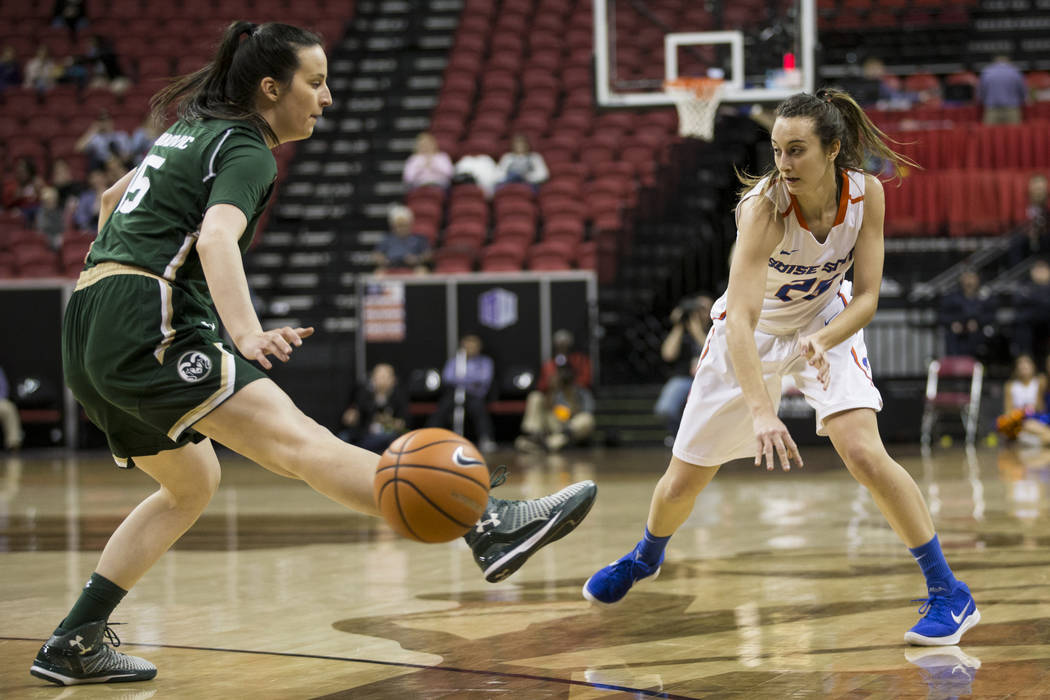 Boise State Broncos guard Marta Hermida (20) makes a pass under pressure from Colorado State Rams forward Veronika Mirkovic (15) in the first half of the Mountain West Conference women's basketbal ...