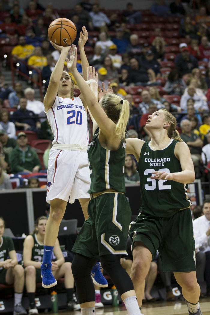 Boise State Broncos guard Marta Hermida (20) takes a shot against Colorado State Rams in the first half of the Mountain West Conference women's basketball tournament game at the Thomas & Mack  ...