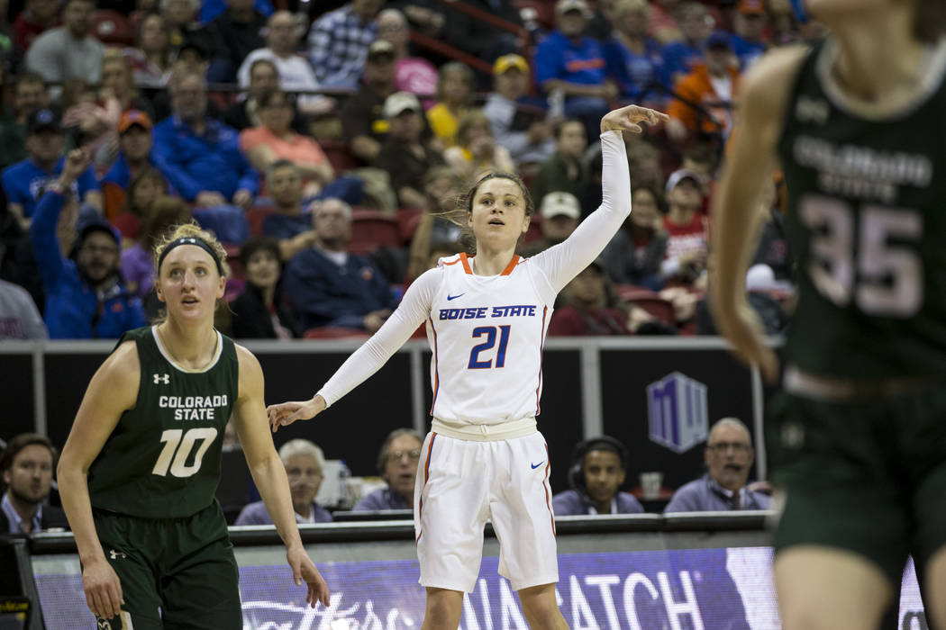 Boise State Broncos guard Riley Lupfer (21) watches with Colorado State Rams guard Hannah Tvrdy (10) as her shot goes in for a score in the first half of the Mountain West Conference women's baske ...