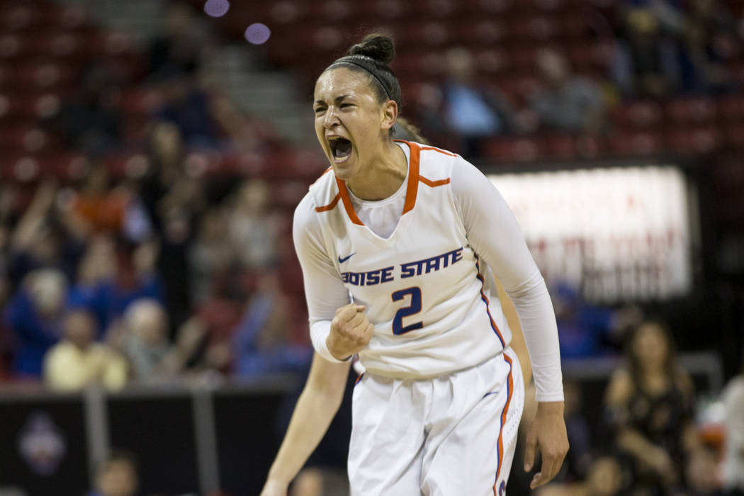 Boise State Broncos forward Shalen Shaw (2) reacts after making the last shot in the second quarter for two points against Colorado State Rams during the Mountain West Conference women's basketbal ...