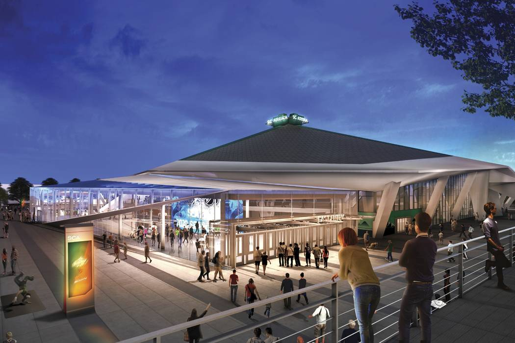 The planned appearance of the remodeled KeyArena in shown in Seattle. (Oak View Group/via AP)