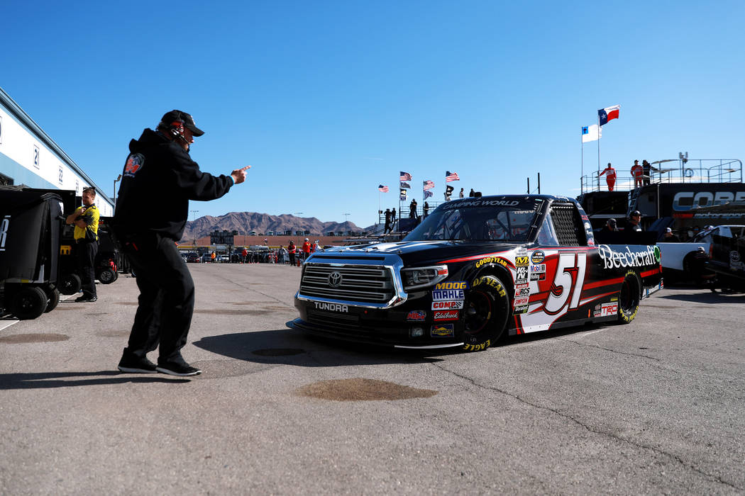 Kyle Busch (51) during practice ahead of the NASCAR Camping World Truck Series, slated for Friday, at the Las Vegas Motor Speedway in Las Vegas on Thursday, March 1, 2018. Andrea Cornejo Las Vegas ...