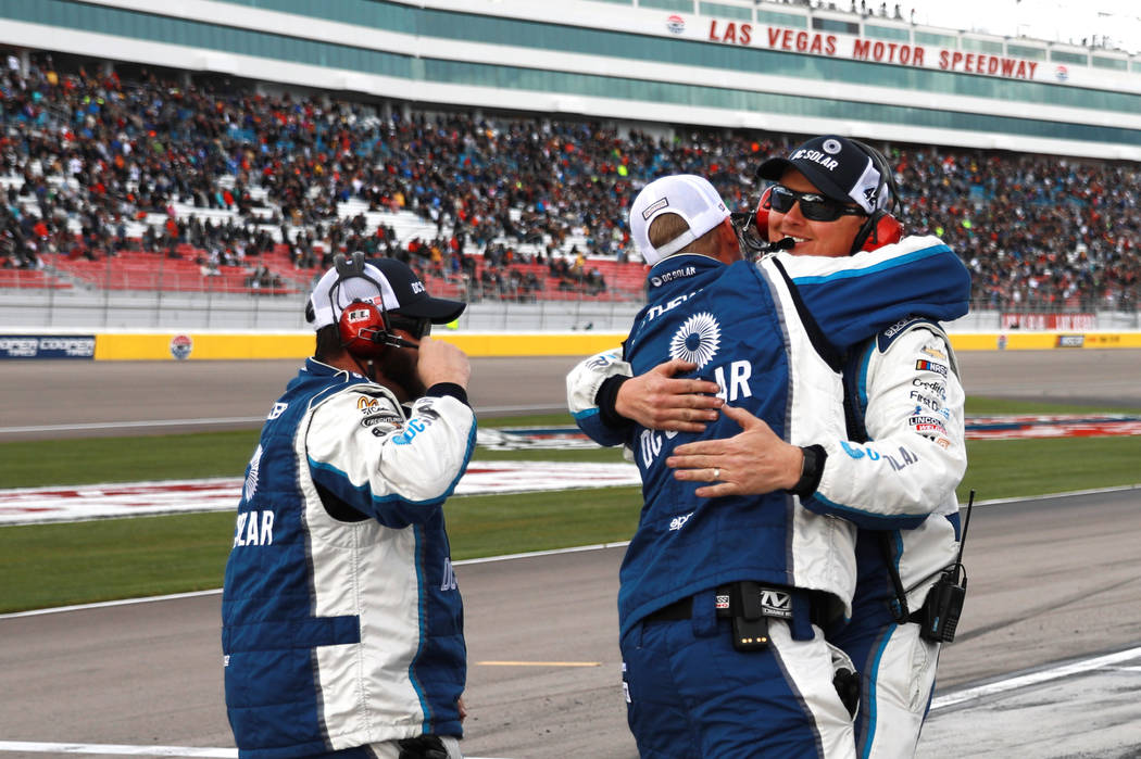 Kyle Larson's (42) pit crew celebrates after Larson wins the NASCAR  Xfinity Series Boyd Gaming 300 auto race at the Las Vegas Motor Speedway in Las Vegas on Saturday, March 3, 2018. Andrea Cornej ...