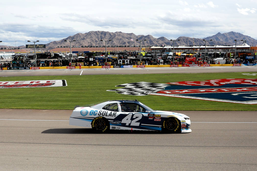 Kyle Larson (42) competes in the NASCAR  Xfinity Series Boyd Gaming 300 auto race at the Las Vegas Motor Speedway in Las Vegas on Saturday, March 3, 2018. He earned his ninth career Xfinity victor ...