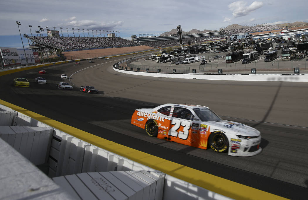 Spencer Gallagher (23) competes during the NASCAR Xfinity Series Boyd Gaming 300 auto race at the Las Vegas Motor Speedway in Las Vegas on Saturday, March 3, 2018. Chase Stevens Las Vegas Review-J ...