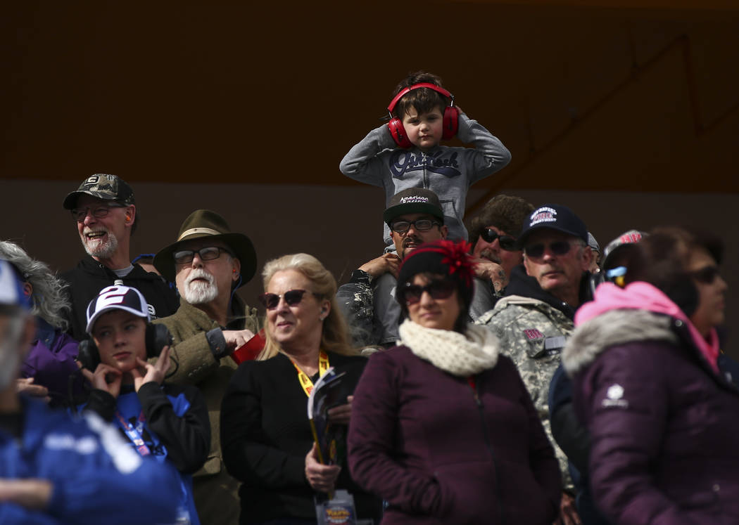 Race fans take in the action at the start of the NASCAR Xfinity Series Boyd Gaming 300 auto race at the Las Vegas Motor Speedway in Las Vegas on Saturday, March 3, 2018. Chase Stevens Las Vegas Re ...