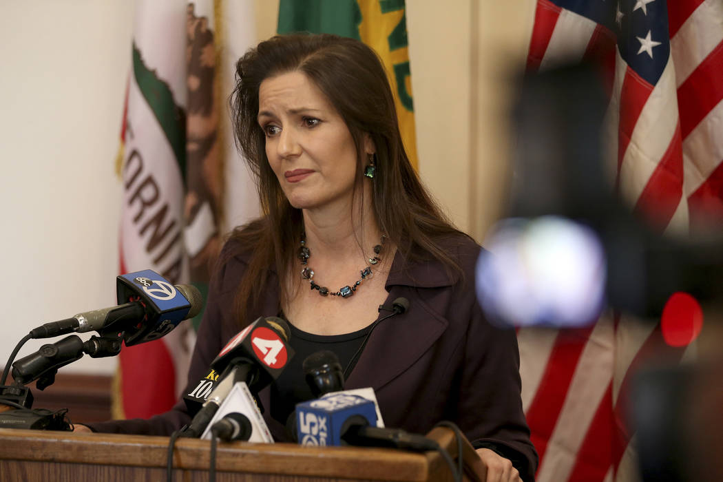 Oakland Mayor Libby Schaaf takes questions from the media during a press conference at City Hall in Oakland, Calif., Wednesday, Feb. 27, 2018.  (Jane Tyska/San Jose Mercury News via AP)