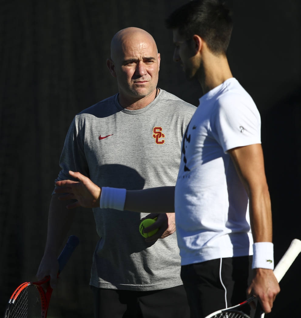 Tennis player Novak Djokovic, right, trains with his coach, Andre Agassi, at Life Time Fitness in Henderson on Friday, March 2, 2018. Djokovic is preparing for the BNP Paribas Open in Indian Wells ...
