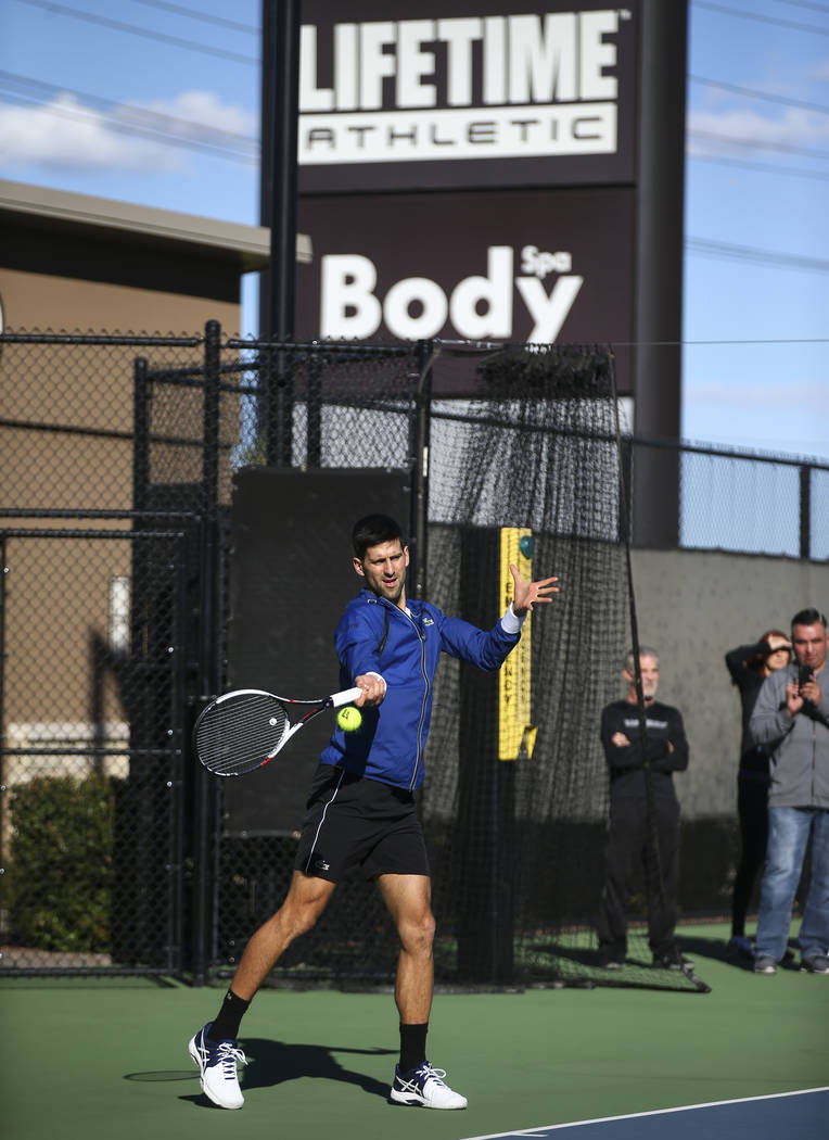 Tennis player Novak Djokovic trains with his coach, Andre Agassi, not pictured, at Life Time Fitness in Henderson on Friday, March 2, 2018. Djokovic is preparing for the BNP Paribas Open in Indian ...