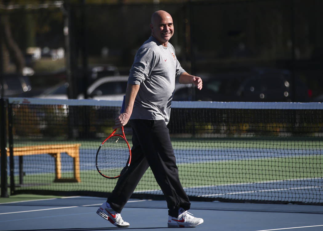 Andre Agassi, who coaches tennis player Novak Djokovic, not pictured, warms up at Life Time Fitness in Henderson on Friday, March 2, 2018. Agassi is preparing Djokovic for the BNP Paribas Open in  ...