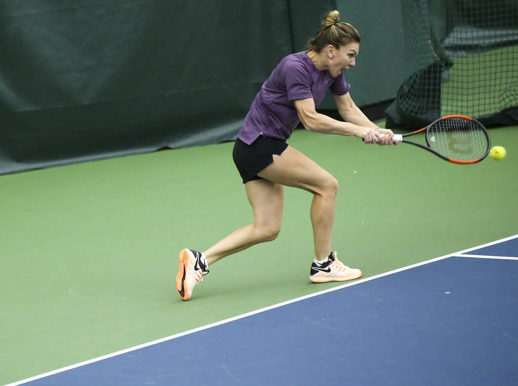 Tennis player Simona Halep trains with her coach Darren Cahill, not pictured, at Life Time Fitness in Henderson on Friday, March 2, 2018. Halep is preparing for the BNP Paribas Open in Indian Well ...